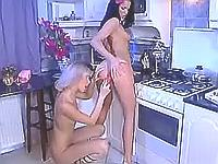 Two hotties play with kinky toys